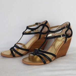 Seychelles black/tan strappy wedge